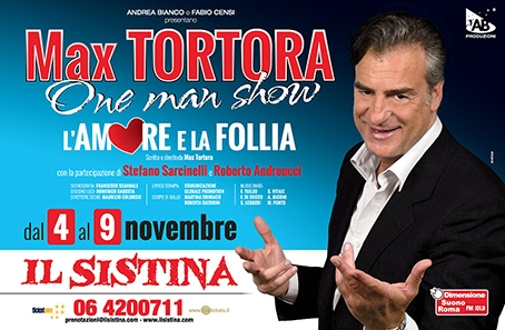 """Max Tortora: al Sistina con il suo primo one man show """"L'amore e la follia"""""""
