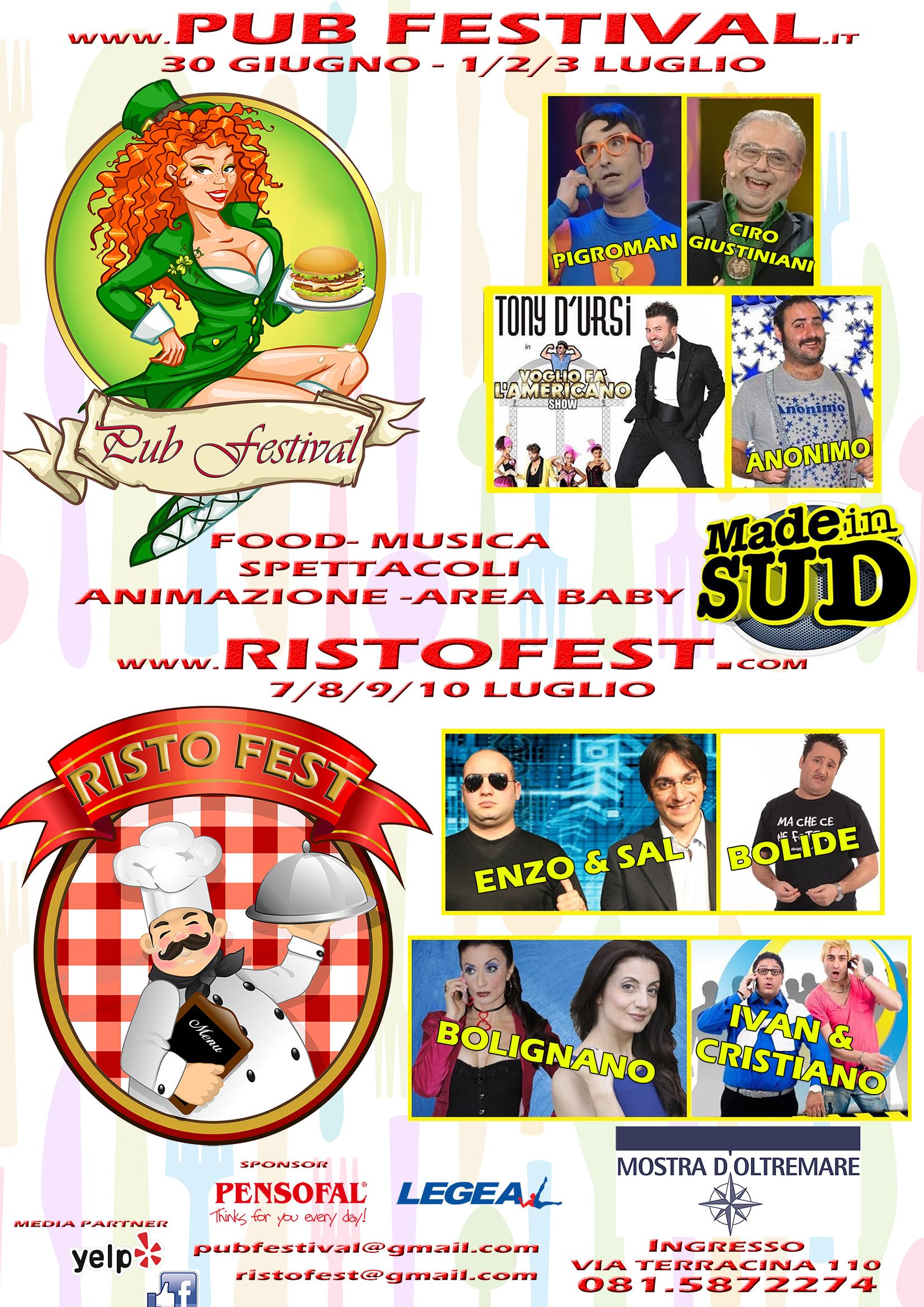 """In arrivo a Napoli """"Pub Festival"""" e il """"Risto Fest"""""""