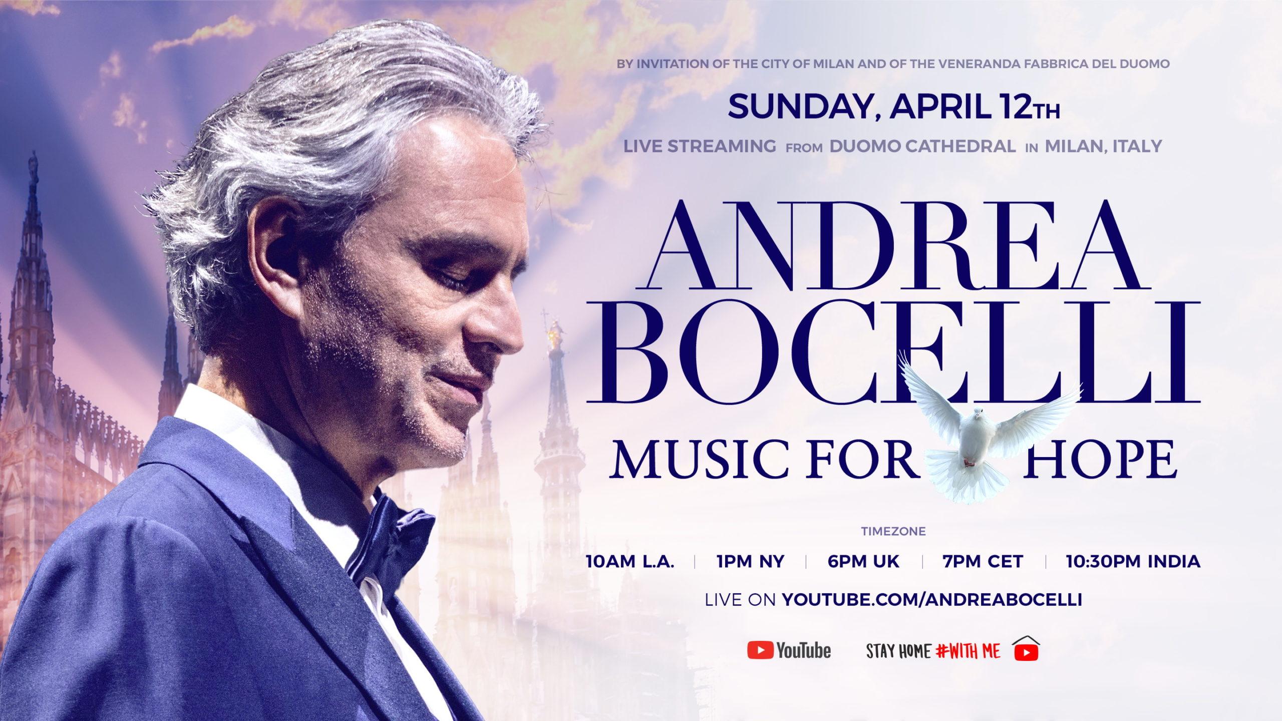 Andrea Bocelli in concerto dal Duomo di Milano nel giorno di Pasqua