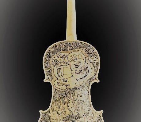 L'Inferno di Dante dipinto sui violini dell'artista italiano Leonardo Frigo