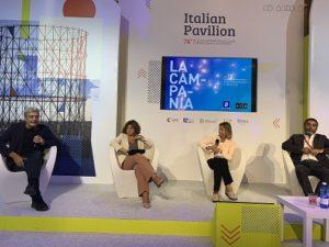 Venezia78: Mario Martone entusiasta per i risultati raggiunti dal sistema audiovisivo campano (FCRC Tavolo Martone Laura Delli Colli Titta Fiore Maurizio Gemma 300x225)